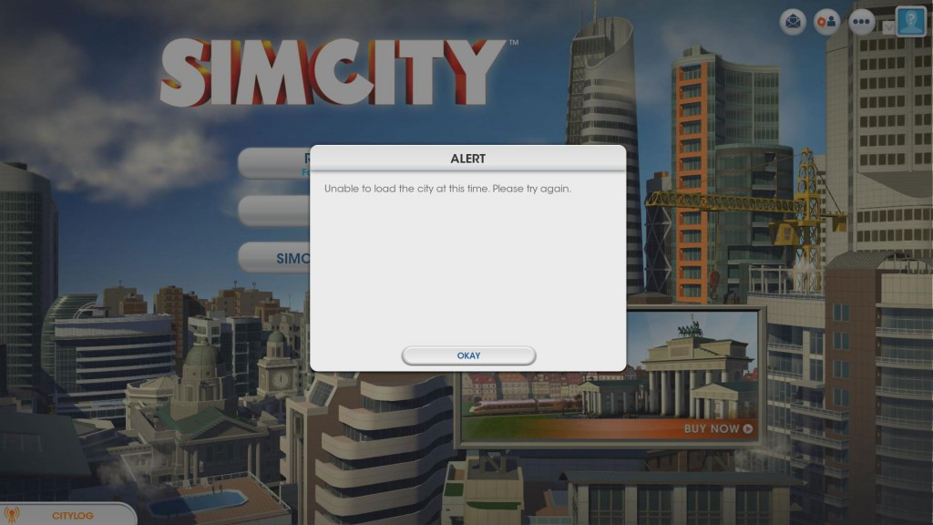 Sim City error message