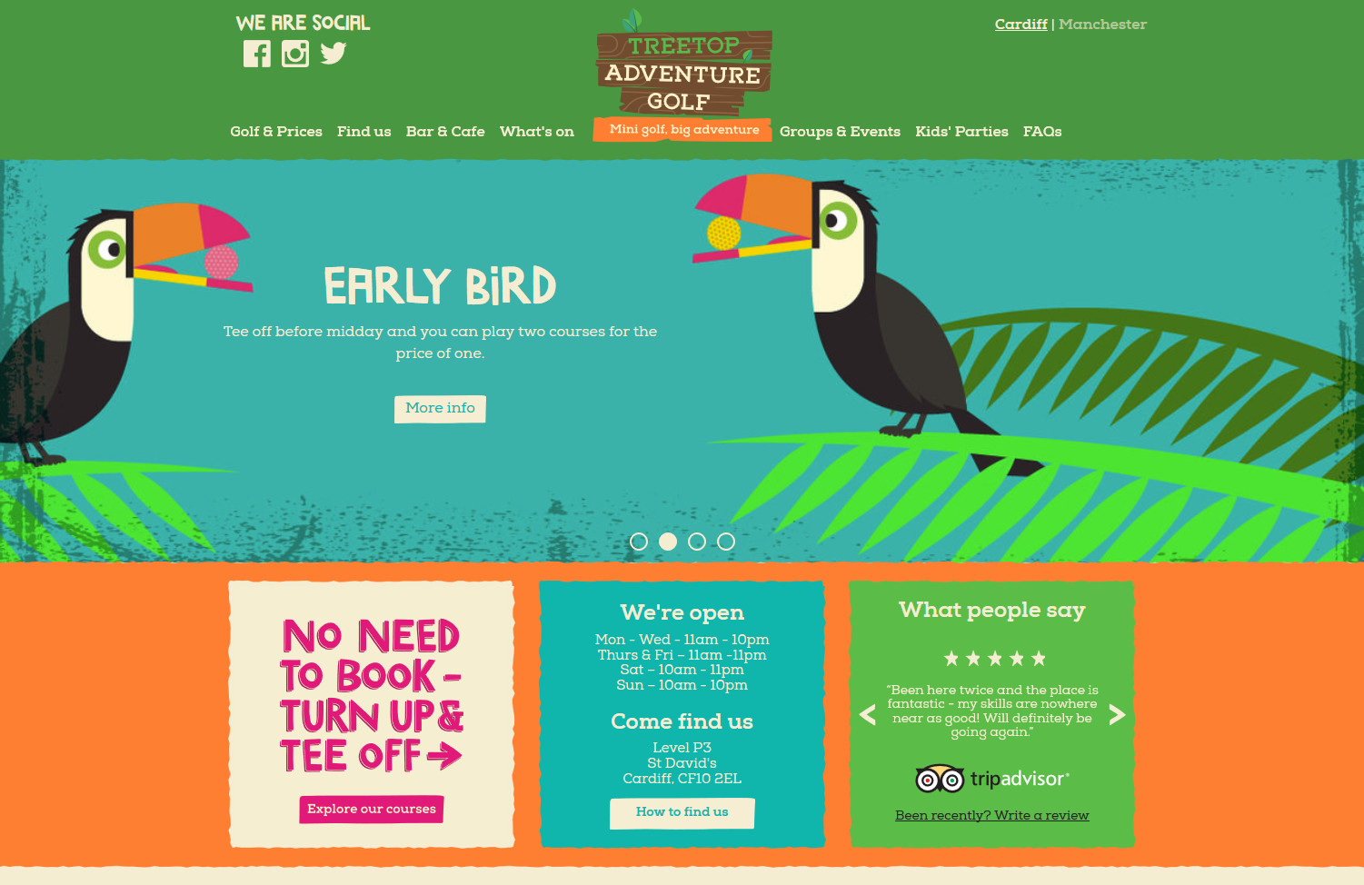 Screenshot of Treetop Adventure Golf's Cardiff homepage