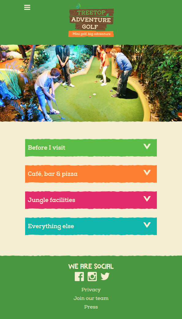 A screenshot of the Treetop Adventure Golf FAQs page mobile layout